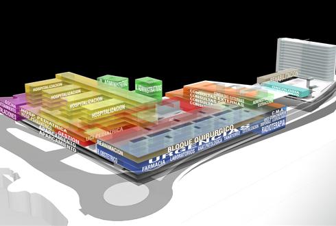 Planos y dibujos  del futuro hospital de Salamanca