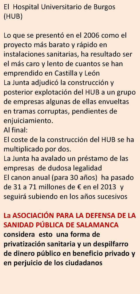 Charla coloquio sobre privatizaciones en Sacyl: Hospital de Burgos